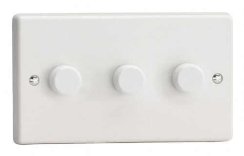 Varilight HQ43W White Plastic 3 Gang 2-Way Push On/Off Dimmer 40-250W V-Dim